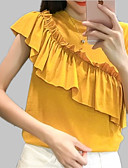 tanie T-shirt-T-shirt Damskie Falbana / Pofałdowany / Patchwork Bawełna Luźna - Solidne kolory / Kolorowy blok
