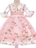 povoljno Haljine za djevojčice-Djeca Djevojčice Aktivan Osnovni Cvjetni print Rukava do lakta Haljina Blushing Pink