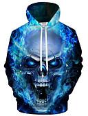 رخيصةأون كنزات هودي رجالي-رجالي رياضي Active / مبالغ فيه قياس كبير فضفاض بنطلون - 3D / كارتون طباعة أزرق / مع قبعة / كم طويل / الخريف / الشتاء