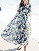 cheap Evening Dresses-Women's Beach Boho Chiffon Dress - Geometric V Neck Green M L XL