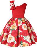 Χαμηλού Κόστους Φορέματα για κορίτσια-Παιδιά Νήπιο Κοριτσίστικα Ενεργό Γλυκός Χριστούγεννα Καθημερινά Αργίες Μονόχρωμο Φλοράλ Συνδυασμός Χρωμάτων Στάμπα Αμάνικο Πάνω από το Γόνατο Ρεϊγιόν Πολυεστέρας Φόρεμα Βυσσινί