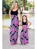 povoljno Obiteljski komplet odjeće-Mama i mene Vintage / Osnovni Hlače - Color block Print Crvena / Duga / Maxi / Dijete koje je tek prohodalo