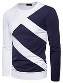 baratos Camisetas & Regatas Masculinas-Homens Camiseta Básico / Moda de Rua Patchwork, Estampa Colorida Azul e Branco