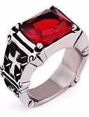 cheap Men's Hoodies & Sweatshirts-Men's Synthetic Ruby / Black Gemstone Vintage Style Ring - Titanium Steel Cross Vintage, European, Gothic 7 / 8 / 9 Black / Red For Gift / Festival