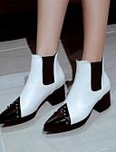 baratos Vestidos para Trabalhar-Mulheres Sapatos Couro Ecológico Primavera & Outono Curta / Ankle Botas Salto Robusto Dedo Apontado Botas Curtas / Ankle Tachas Branco / Preto / Vermelho