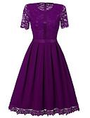 זול שמלות נשים-עד הברך תחרה, אחיד - שמלה נדן בגדי ריקוד נשים
