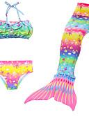 billige Badetøj til piger-Børn Pige Aktiv Sport Havfruehale Lille Havfrue Trykt mønster Blandet Farve Uden ærmer Bomuld Badetøj Regnbue
