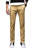 tanie Męskie spodnie i szorty-Męskie Prosty / Podstawowy Bawełna Szczupła Garnitury / Typu Chino Spodnie - Solidne kolory Beżowy
