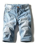 ieftine Maieu & Tricouri Bărbați-Bărbați De Bază Bumbac Blugi / Pantaloni Scurți Pantaloni - Găurite, Mată