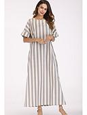 ieftine Print Dresses-Pentru femei De Bază Bumbac Larg Pantaloni - Dungi Imprimeu Gri Deschis / Maxi / Stil Nautic
