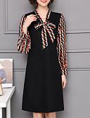 お買い得  レディースセーター-女性用 プラスサイズ シフト ドレス - プリント, 幾何学模様 膝丈