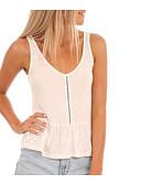 tanie Sukienki-T-shirt Damskie Vintage, Frędzel Bawełna Solidne kolory Bufka Czarno-biały