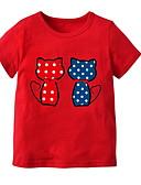 お買い得  女児 トップス-幼児 女の子 ベーシック ソリッド 半袖 ポリエステル Tシャツ ライトブルー