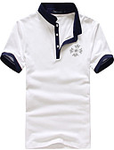 tanie Męskie koszulki polo-Polo Męskie Podstawowy, Patchwork Bawełna Kołnierzyk koszuli Kolorowy blok / Krótki rękaw