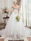 cheap Wedding Dresses-A-Line Sweetheart Neckline Cathedral Train Lace Over Tulle Made-To-Measure Wedding Dresses with Beading by LAN TING BRIDE® / Sparkle & Shine