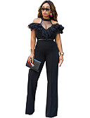 cheap Women's Jumpsuits & Rompers-Women's Going out Sophisticated Turtleneck Black Wide Leg Jumpsuit, Solid Colored Ruffle / Mesh M L XL High Waist Short Sleeve Spring Summer / Sexy