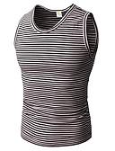 Χαμηλού Κόστους Ανδρικά μπλουζάκια και φανελάκια-Ανδρικά Αμάνικη Μπλούζα Βαμβάκι / Λινό Μονόχρωμο / Ριγέ Στρογγυλή Λαιμόκοψη / Αμάνικο