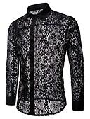 billige Eksotisk herreundertøy-Skjorte Herre - Fargeblokk, Blonde / Uthult / Netting Grunnleggende
