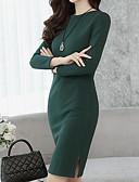 رخيصةأون فساتين للعمل-فستان نسائي قياس كبير كلاسيكي عصري عتيق / أناقة الشارع منفصل - قطن طول الركبة لون سادة عمل