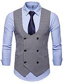 cheap Men's Jackets & Coats-Men's Basic Vest - Plaid / Checkered