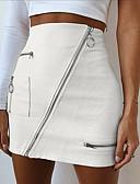זול שמלות מיני-אחיד - חצאיות פוליאוריתן צינור בגדי ריקוד נשים לבן S M L / מיני