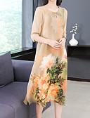 abordables Vestidos de Dama de Honor-Mujer Tallas Grandes Noche Algodón Corte Ancho Gasa Vestido - Estampado, Floral Midi