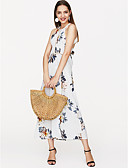 cheap Women's Dresses-Women's Holiday Dress - Floral Backless / Print Maxi Strap