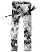 cheap Men's Pants & Shorts-Men's Street chic Cotton Slim Chinos Pants - Geometric Black & White, Print White / Spring / Fall / Club