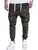 olcso Férfi nadrágok és rövidnadrágok-Férfi Alap Extra méret Vékony Pamutszövet nadrág Nadrág - álcázás Nyomtatott Katonai zöld / Hétvége