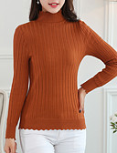 cheap Women's Sweaters-Women's Daily Solid Colored Long Sleeve Regular Pullover, Turtleneck Gray / Wine / Khaki L / XL / XXL