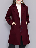 cheap Women's Coats & Trench Coats-Women's Holiday / Going out Basic / Street chic Plus Size Cotton Trench Coat - Solid Colored