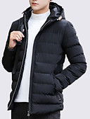 cheap Men's Downs & Parkas-Men's Daily Solid Colored Regular Padded, Polyester Long Sleeve Hooded Navy Blue / Wine / Light gray XL / XXL / XXXL
