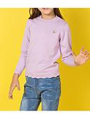 お買い得  女児 セーター&カーディガン-子供 女の子 ベーシック 日常 ソリッド 刺繍 長袖 レギュラー コットン / ポリエステル セーター&カーデガン パープル