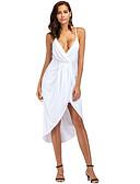 baratos Vestidos Longos-Mulheres Bainha Vestido - Enrole, Sólido Decote em V Profundo Assimétrico