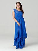baratos Vestidos de Mulher-Mulheres Tamanhos Grandes Moda de Rua Rendas / Rodado Vestido Sólido Longo