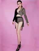 abordables Leggings para Mujer-Trajes de baile Ropa de baile exótica / Trajes con diamantes Mujer Rendimiento Licra Combinación / Cristales / Rhinestones Manga Larga Cintura Baja Chaqueta / Pantalones cortos