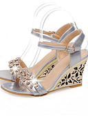 cheap Men's Belt-Women's Comfort Shoes Synthetics Summer Sandals Wedge Heel White / Silver / Blue