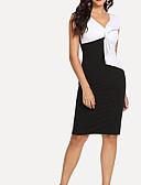 cheap Women's Fur & Faux Fur Coats-Women's Going out Cotton Sheath Dress - Color Block Black & White, Bow V Neck