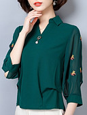 baratos Vestidos Plus Size-Mulheres Camisa Social Floral Colarinho de Camisa