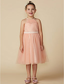 cheap Mother of the Bride Dresses-A-Line Knee Length Flower Girl Dress - Tulle Sleeveless Jewel Neck with Sash / Ribbon by LAN TING BRIDE®