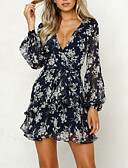 cheap Print Dresses-Women's Holiday / Going out Dress - Floral Print / Wrap Deep V Summer White M L XL