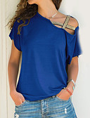cheap Prom Dresses-Women's Plus Size T-shirt - Solid Colored Off Shoulder / Summer