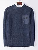 billige Herrebukser og -shorts-Herre Daglig Fargeblokk Langermet Normal Pullover, Rund hals Rød / Grå / Kakifarget XL / XXL / XXXL