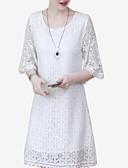 billige Romantiske blonder-Dame Grunnleggende Tynn Bukser - Geometrisk Blonde Hvit / Skjortekrage