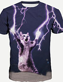 cheap Women's Sexy Clothing-Men's Plus Size T-shirt - Animal Cat Round Neck / Short Sleeve