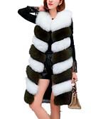 ieftine Pantaloni de Damă-Pentru femei Zilnic De Bază Toamna iarna Lung Γιλέκο, Bloc Culoare În V Fără manșon Blană Artificială Gri Închis / Verde Militar / Gri Deschis XL / XXL / XXXL