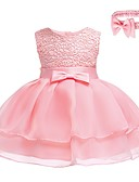 cheap Mother of the Bride Dresses-Baby Girls' Active / Basic Party Solid Colored Lace Sleeveless Above Knee Cotton Dress