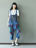 tanie Damskie spodnie-Damskie Bawełna Jeansy / Kombinezon Spodnie - Solidne kolory Niebieski