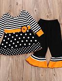 Χαμηλού Κόστους Σετ ρούχων για κορίτσια-Παιδιά Κοριτσίστικα Ενεργό Ριγέ Μακρυμάνικο Βαμβάκι Σετ Ρούχων Μαύρο