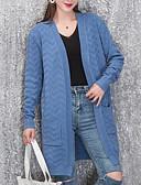 baratos Suéteres de Mulher-Mulheres Manga Longa Solto Longo Carregam - Sólido / Decote V